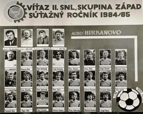 TJ Agro Hurbanovo, víťaz II. SNL 1984-85